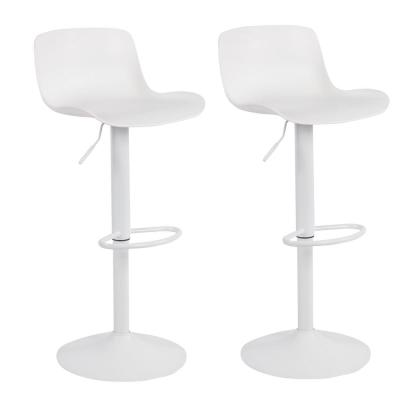 White Adjustable Height Solid Color Monochromatic Bar Stool (Set of 2)