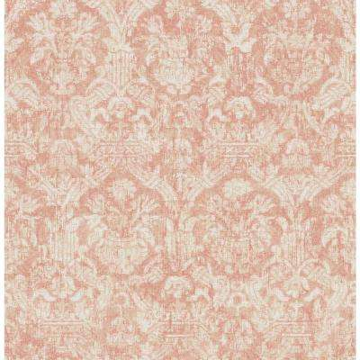 Lotus Coral Damask Wallpaper Sample