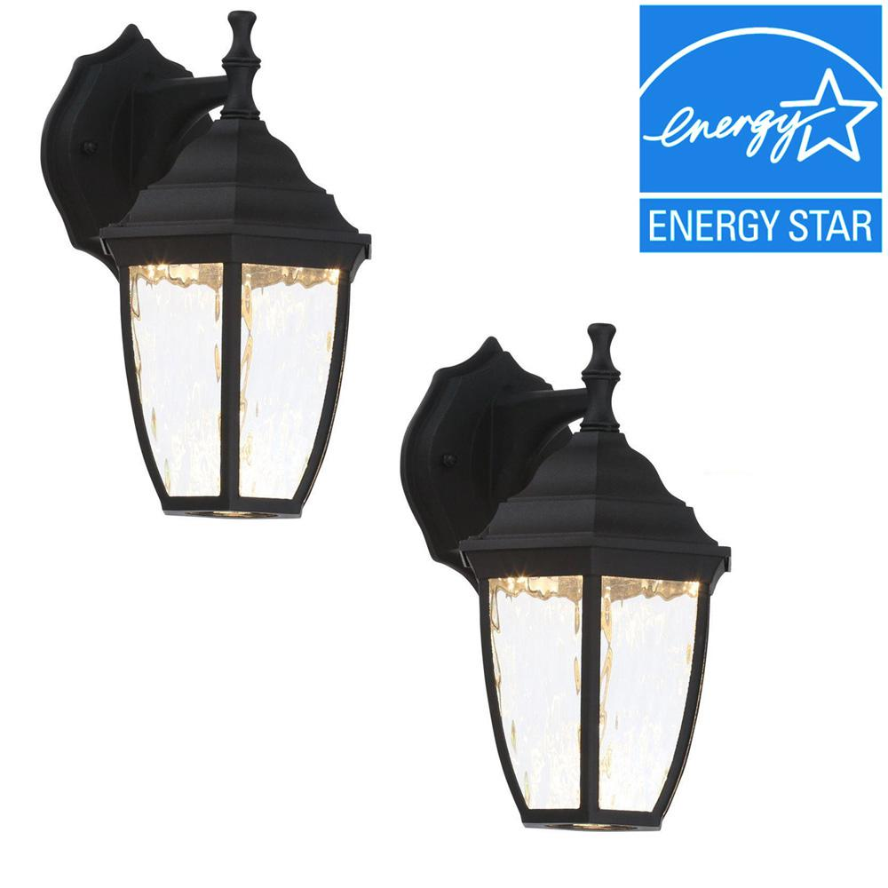Hampton Bay Black Outdoor LED Wall Lantern (2-Pack)-HB7024-05TP ...