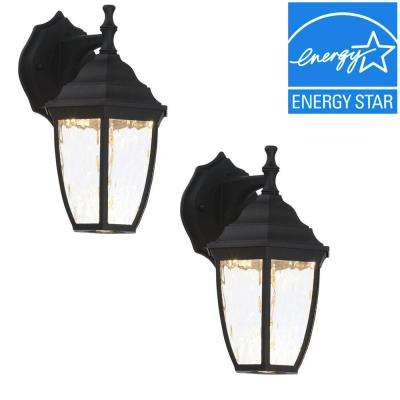 Black outdoor led wall lantern 2 pack