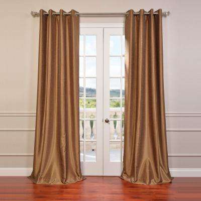 Flax Gold Grommet Blackout Vintage Textured Faux Dupioni Silk Curtain - 50 in. W x 84 in. L