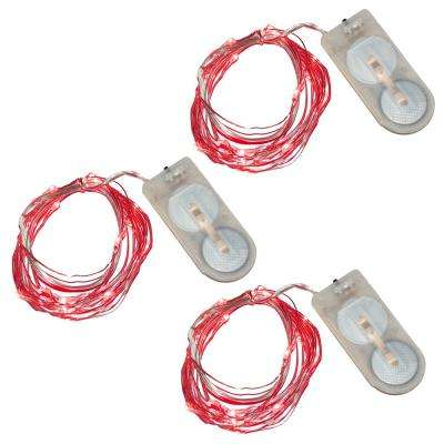 Red Battery Operated Waterproof Mini String Lights (3-Count)