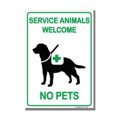 8 in. x 5.5 in. Service Animals Welcome No Pets Dogs Allowed Vinyl Sticker
