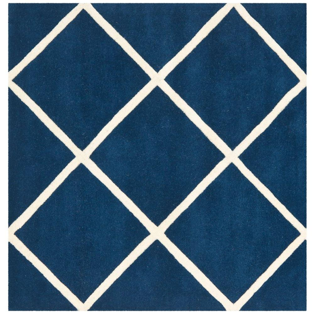 Safavieh Chatham Dark Blue Ivory 7 Ft X 7 Ft Square Area