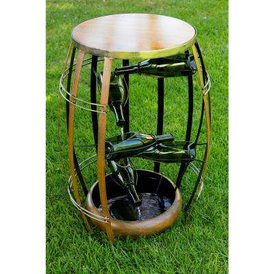 31 in. Tall Metal Tiered Wine Bottles in a Barrel Fountain
