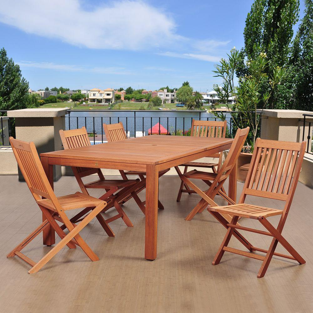 Coronado 7-Piece Eucalyptus Rectangular Patio Dining Set
