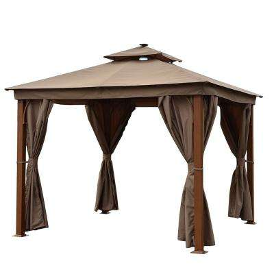 10 ft. x 10 ft. Aluminum Gazebo with Wooden Finish Sand Curtain