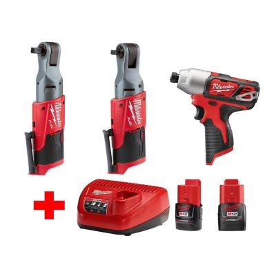 M12 12-Volt Lithium-Ion Brushless Cordless Ratchet and Impact Combo Kit (3-Tool) with (2) 2.0Ah Battery and Charger