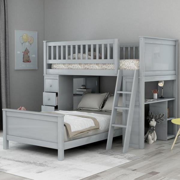 Grey Classic Twin Over Twin Bed with Drawers and Shelves