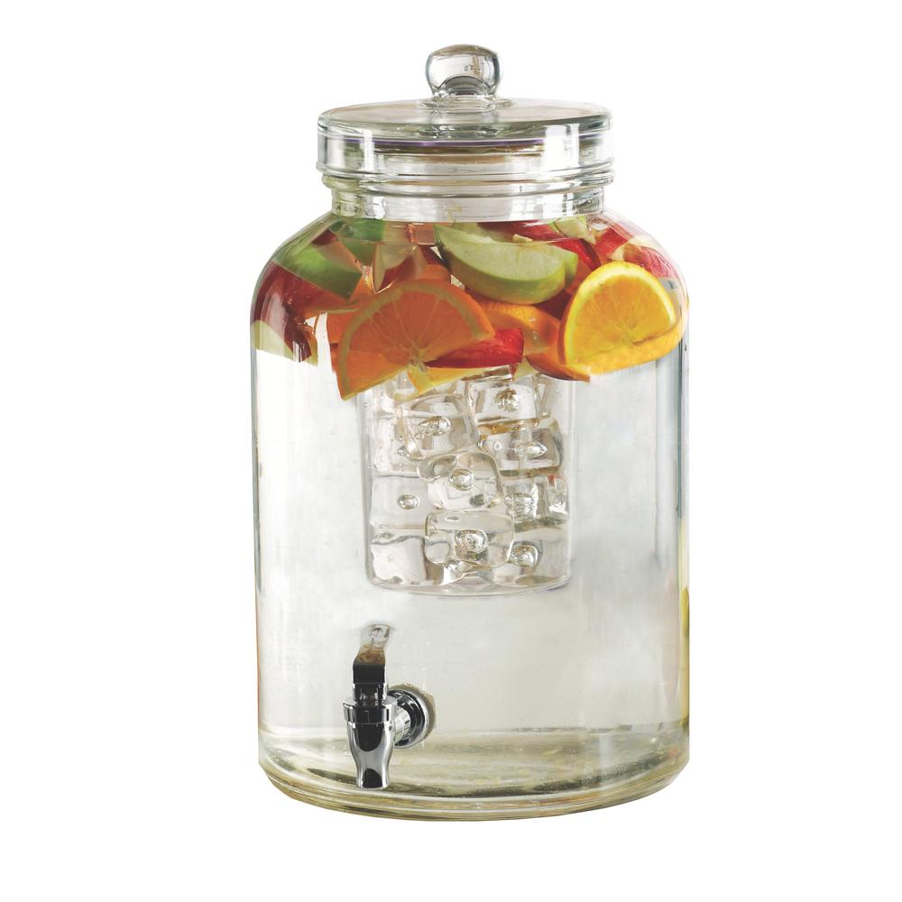 Brington 2.64 Gal. Clear Glass Beverage Dispenser with Ice Insert and