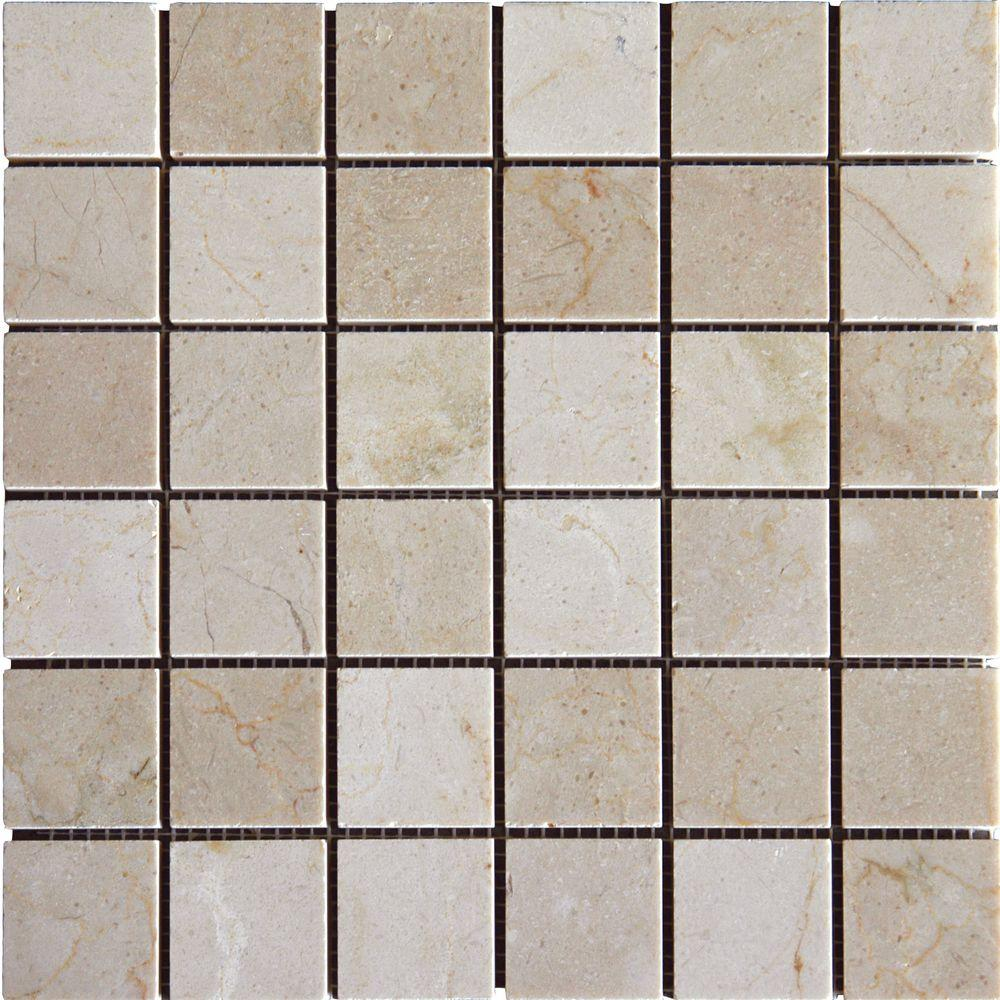 MS International Crema Marfil 12 in. x 12 in. x 10 mm Tumbled Marble Mesh-Mounted Mosaic Tile (10 sq. ft. / case)
