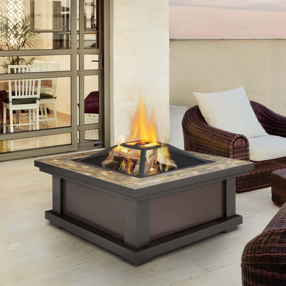 Alderwood 34 in. Steel Framed Wood-Burning Fire Pit in Black with