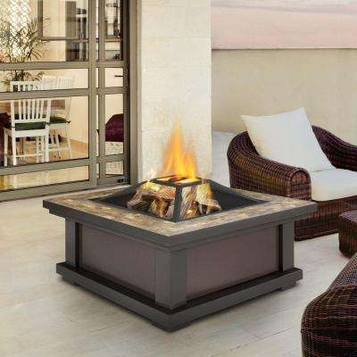 Alderwood 34 in. Steel Framed Wood-Burning Fire Pit in Black with Slate Top