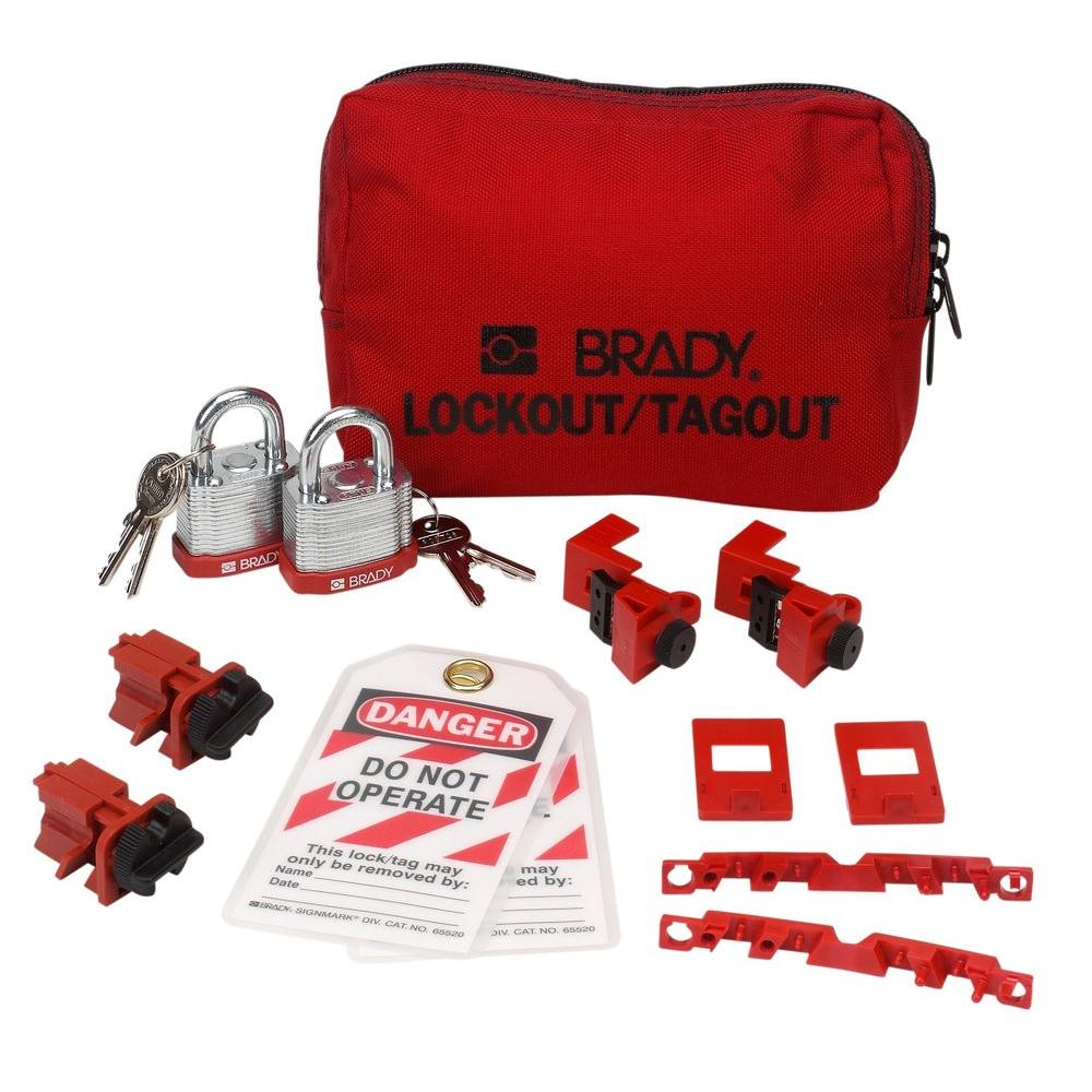 120/277-Volt Breaker Lockout Pouch with Steel Padlocks and Tags