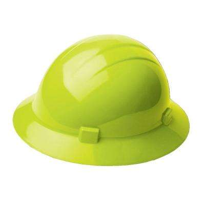Americana 4 Point Nylon Suspension Mega Ratchet Full Brim Hard Hat in Hi Viz Lime
