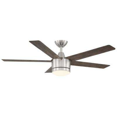 Merwry 52 in. Integrated LED Indoor Brushed Nickel Ceiling Fan with Light Kit and Remote Control