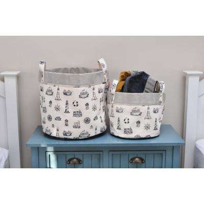 Medium Nautical Navy Canvas Round Bottom Storage Tub