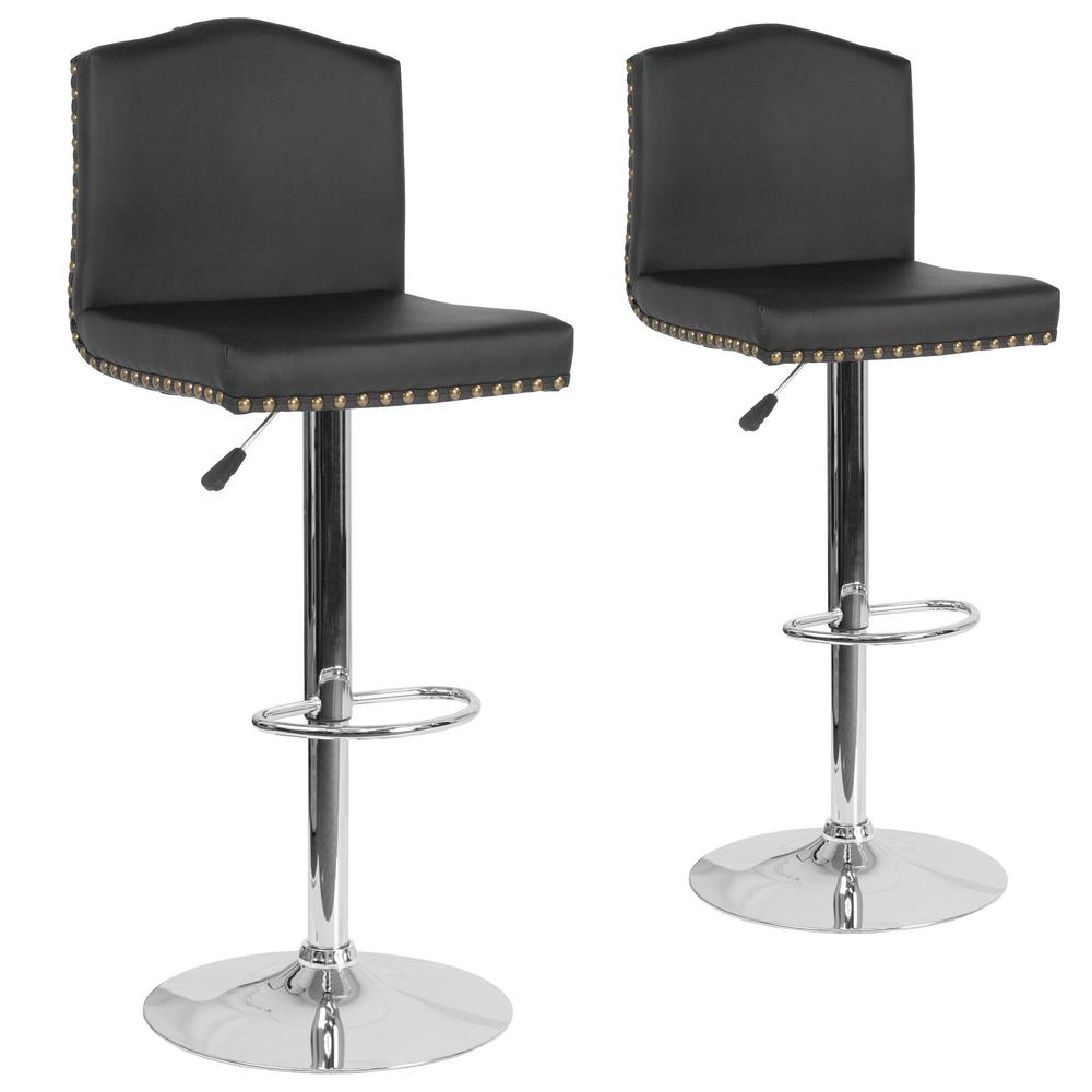 Brilliant Carnegy Avenue 46 5 In Black Leather Barstool Set Of 2 Pabps2019 Chair Design Images Pabps2019Com