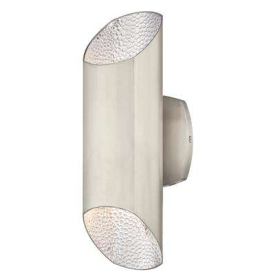 Carson 2-Light Brushed Nickel with Hammered Brushed Nickel Interior Outdoor Integrated LED Wall Mount Cylinder Light