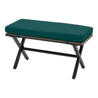 Laguna Point Brown Steel Wood Top Outdoor Patio Bench with CushionGuard Malachite Green Cushions