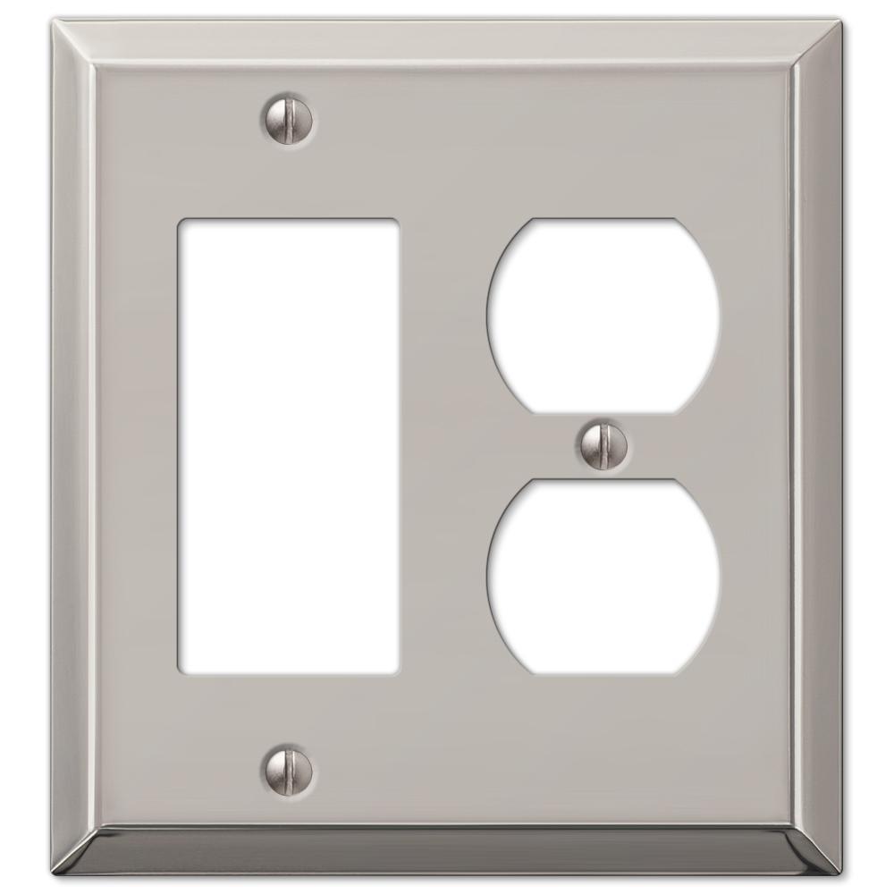 Metallic 2 Gang 1-Duplex and 1-Rocker Steel Wall Plate - Polished Nickel