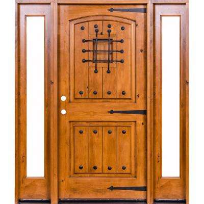 58 in. x 80 in. Mediterranean Unfinished Knotty Alder Arch Left-Hand Full Sidelites Clear Glass Prehung Front Door