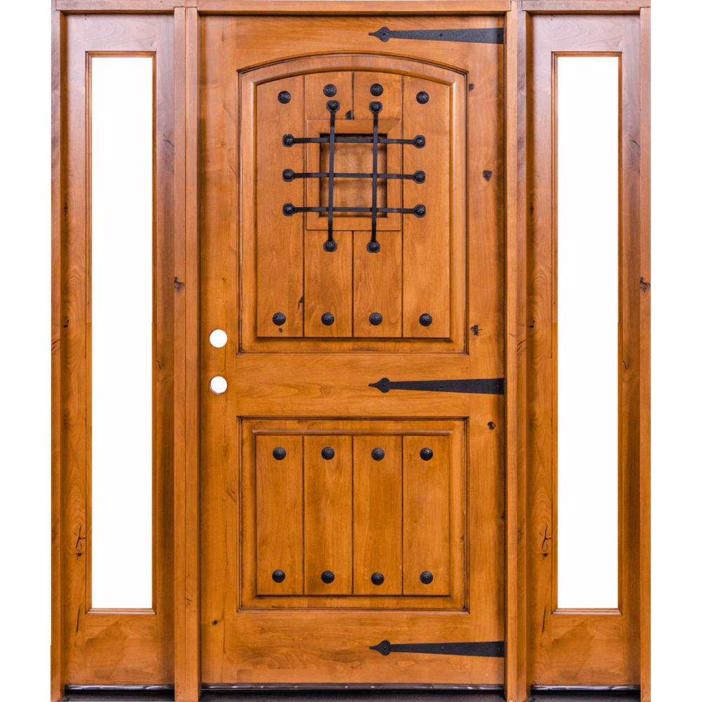 Krosswood Doors 76 in. x 96 in. Mediterranean Knotty Alder Arch Unfinished Right-Hand Inswing Prehung Front Door with Full Sidelites