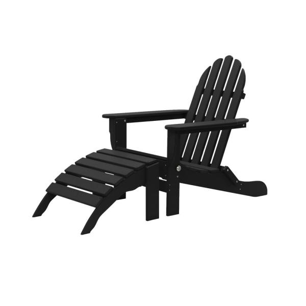Icon Black 2-Piece Plastic Folding Adirondack Chair