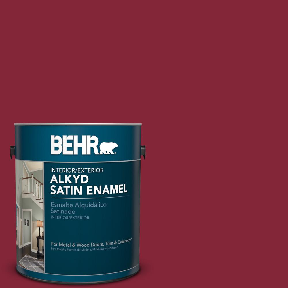 BEHR 1 gal. #M140-7 Dark Crimson Satin Enamel Alkyd Interior/Exterior Paint