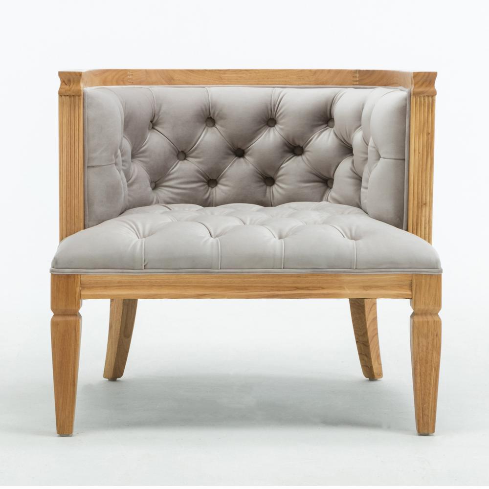CEETS Light Grey Velvet Majorca Accent Chair AC049-GY