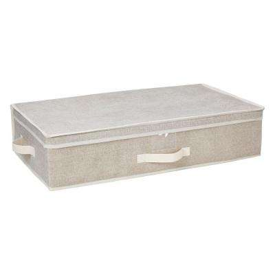 16 in. x 16 in. x 6 in. Under-The-Bed Faux Jute Polypropylene Storage Box