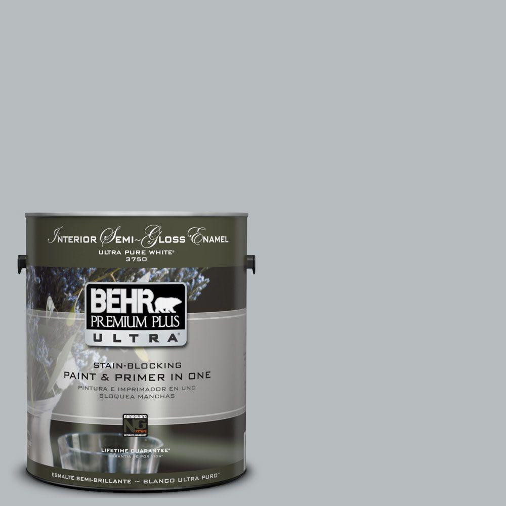 BEHR Premium Plus Ultra 1-gal. #UL260-19 French Silver Interior Semi-Gloss Enamel Paint