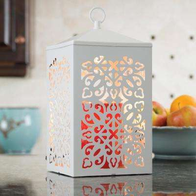 12.3 in. White Scroll Candle Warmer Lantern