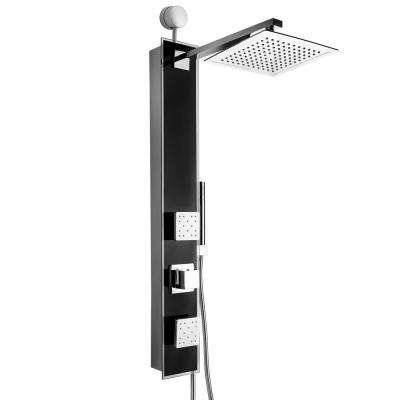 35 in. 2-Jet Easy Connect Shower Panel System in Black Tempered Glass with Rainfall Shower Head and Handheld Shower Wand