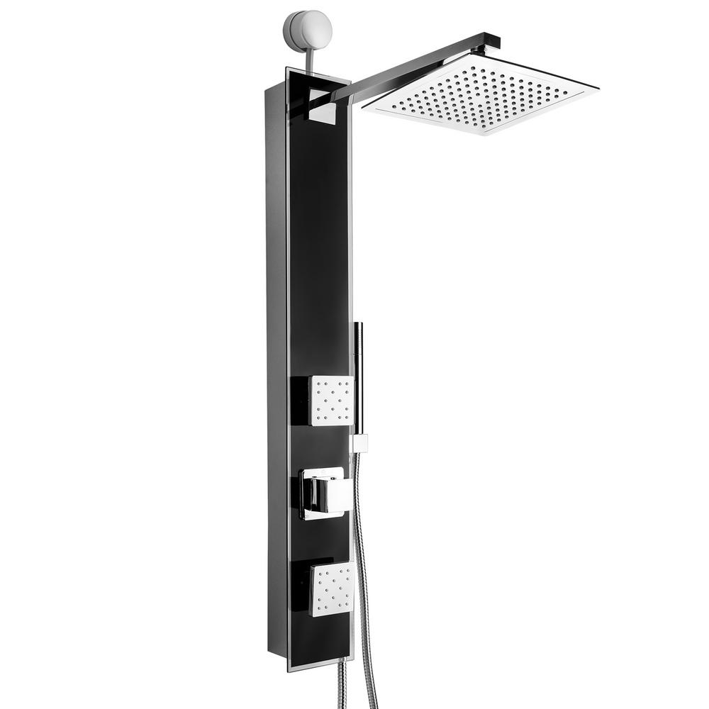 AKDY 35 in. 2-Jet Easy Connect Shower Panel System in Black Tempered Glass with Rainfall Shower Head and Handheld Shower Wand