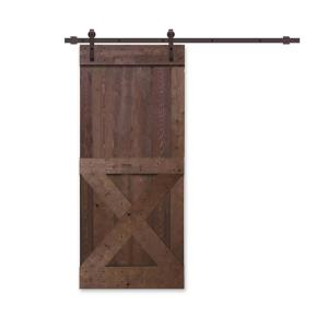 Home Fashion Technologies 42 In X 84 In Board And Batten Composite Pvc Hickory Split Sliding Barn Door With Hardware Kit 8504284020 The Home Depot