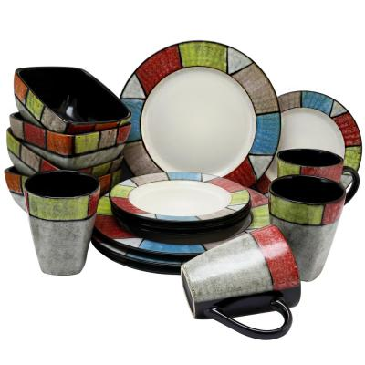Country Cottage16-Piece Multi-Colored Dinnerware Set