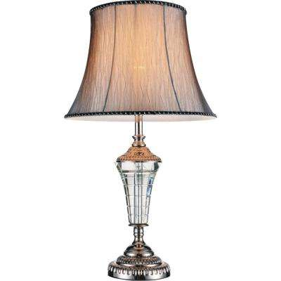Yale 25 in. Brushed Nickel Table Lamp with Grey Shade