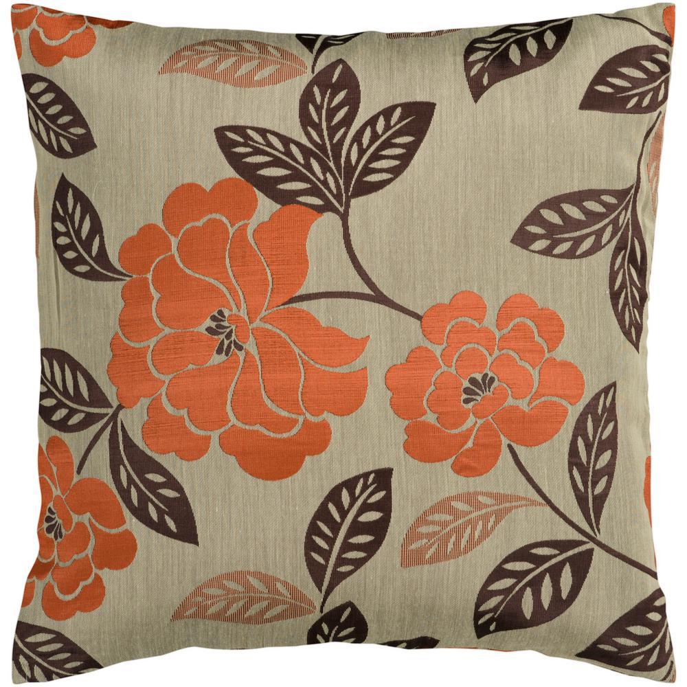Ehretia Tan Geometric Polyester 22 in. x 22 in. Throw Pillow