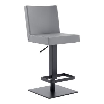 Cleaon Contemporary Adjustable 35-43.5 in. Swivel Barstool in Matte Black Finish and Grey Faux Leather