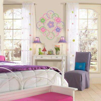 13 in. x 13 in. Purple Hooplah Circles 8-Piece Wall Decals