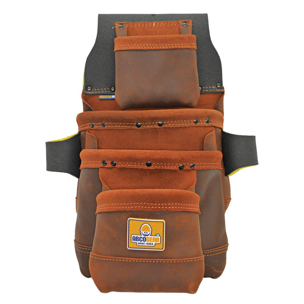 ABCOGEAR 13 in. 4-Pocket Elite Series Leather Tool Pouch in Brown
