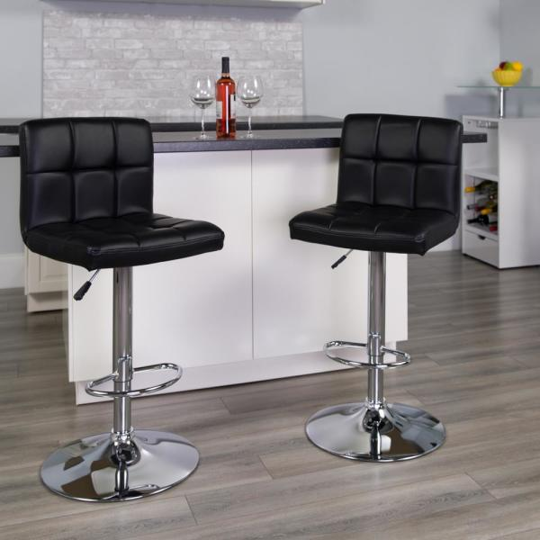 Flash Furniture 34 in. Adjustable Height Black Cushioned Bar Stool DS810MODBK