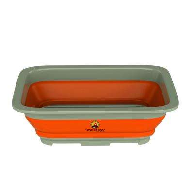 10 in. L Collapsible Multi-use Portbale Wash Bin in Orange