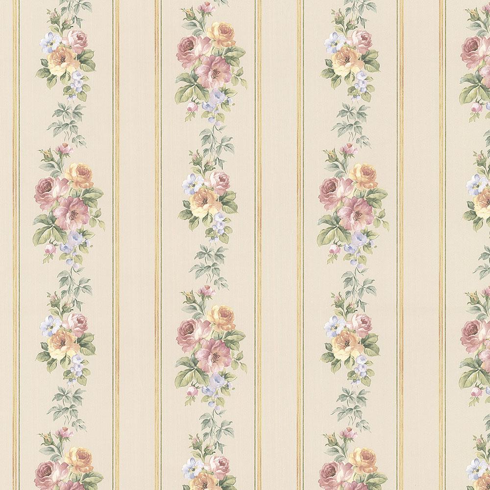 Small Rose Stripe Wallpaper