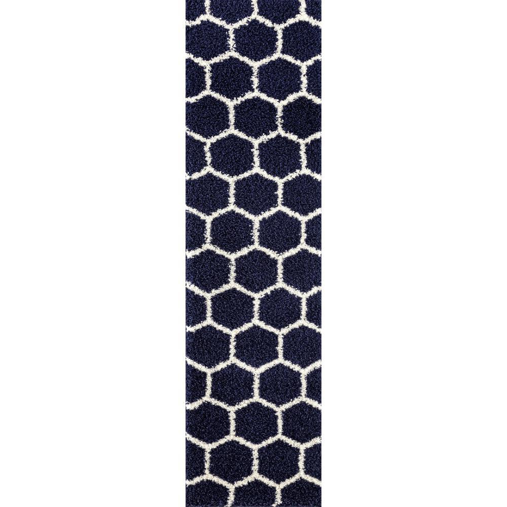 Geometric Honeycomb Shag Area Rug Runner 2 X7 2 3232 Navy 2x8 The