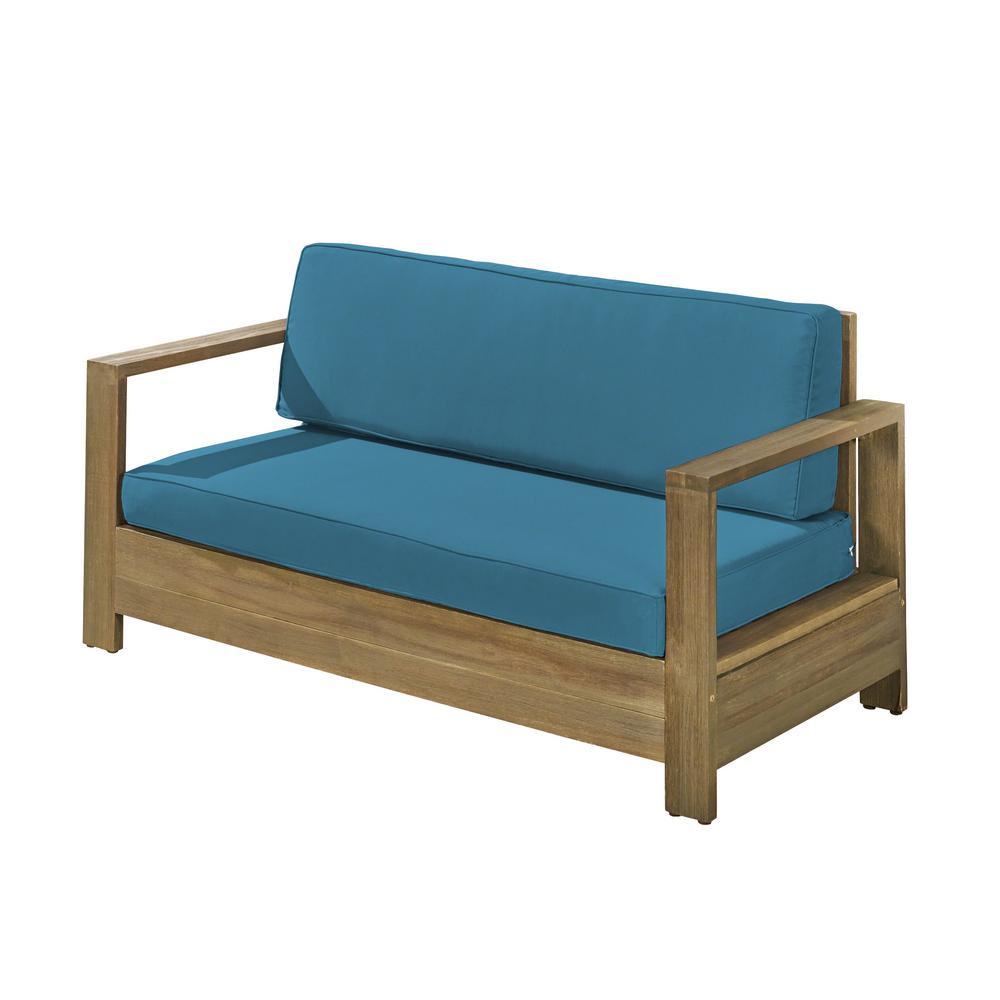 Devon Brushed Grey Wood Outdoor Loveseat with Dark Teal Cushion