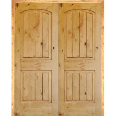 48 in. x 80 in. Rustic Knotty Alder 2-Panel Arch Top VG Both Active Solid Core Wood Double Prehung Interior French Door
