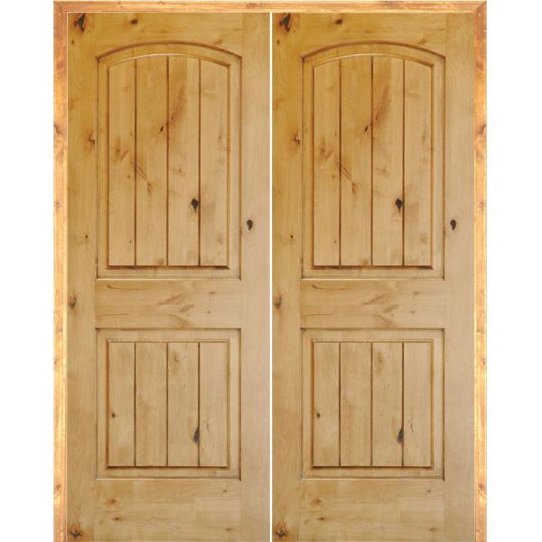 64 in. x 80 in. Rustic Knotty Alder 2-Panel Arch Top VG Both Active Solid Core Wood Double Prehung Interior French Door
