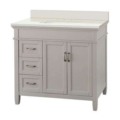 Ashburn 37 in. W x 22 in. D Vanity in Grey with Engineered Marble Vanity Top in Winter White with White Sink